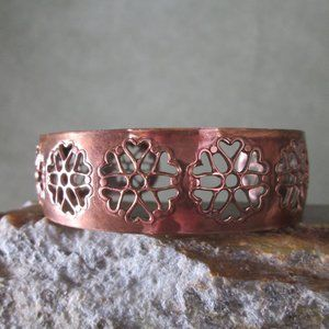 Artisan Copper Bracelet, Filigree Hearts & Flowers